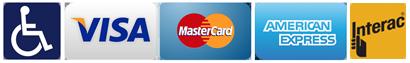 We accept Visa Mastercard American Express